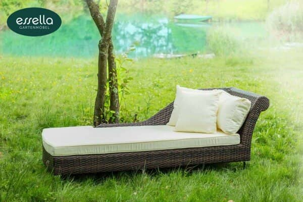 "Essella Polyrattan Chaiselongue ""Paris"" : bicolor-braun : flachgeflecht : gartenmode.de"