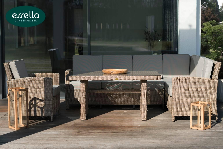 essella polyrattan sitzgruppe berlin 6 personen rundgeflecht. Black Bedroom Furniture Sets. Home Design Ideas