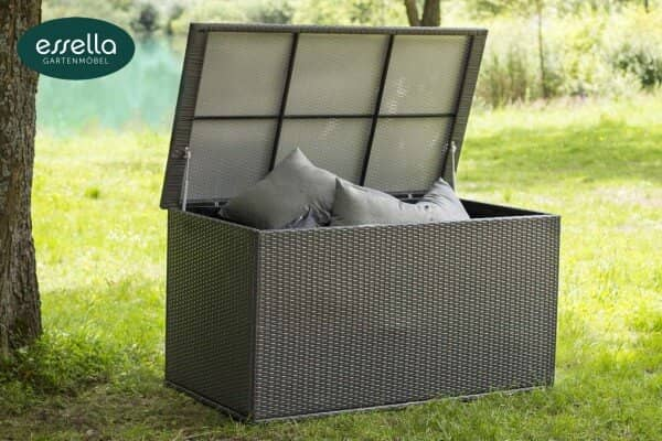 Essella Polyrattan Kissenbox XL : grau : flachgeflecht : gartenmode.de